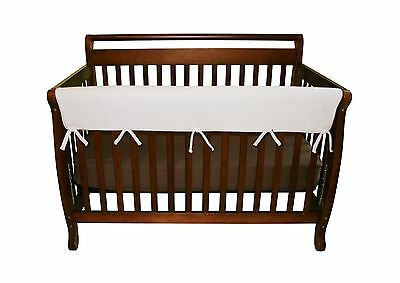 Trend Lab Fleece CribWrap Wide Rail Cover for Crib Front or Back White