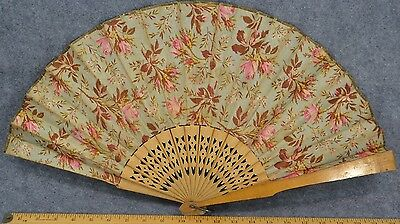 hand fan early fabric carved wood Civil War Ear large 24 in antique original