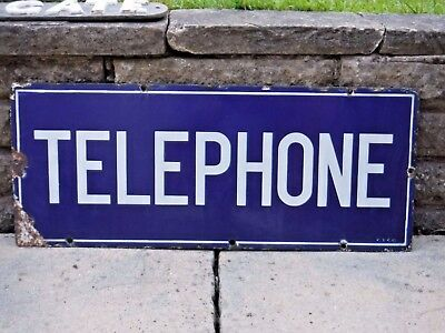 "1930s Original Vintage ENAMEL ""TELEPHONE"" DOUBLE-SIDED SIGN  GPO"
