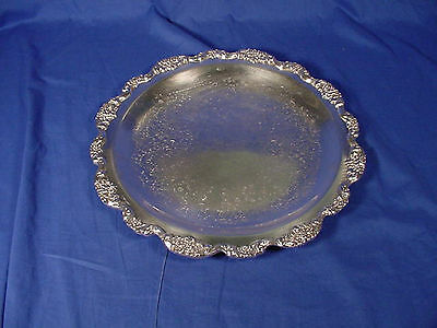 """Vintage & Heavy POOLE Silver Plated 15"""" Serving Tray OLD ENGLISH"""