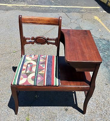 Vintage Mahogany Gossip Bench Telephone ☎️ Table With New Fabric Seat Cover