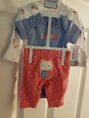 "Preemie baby girl 3 pc set Carter's little owl and ""LOVE"" pant,two bodysuits"