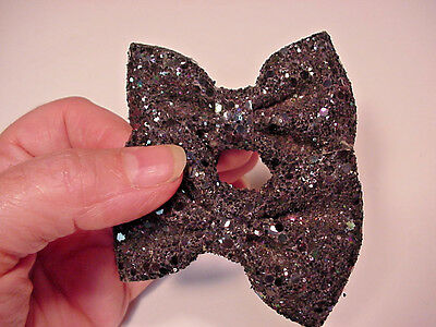 Shoe clips buckles black sparkly BOW shape large size