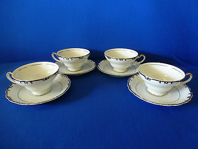 Gold China Baronet Pattern Made In Japan Cups & Saucers Set of 4