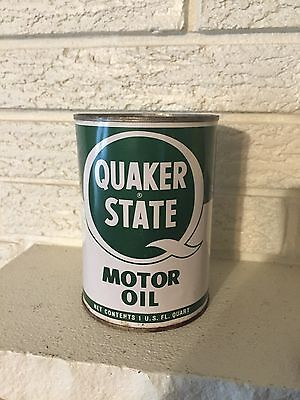 Vintage Quaker State Motor Oil Tin Quart Can Unopened Oil City Pennsylvania
