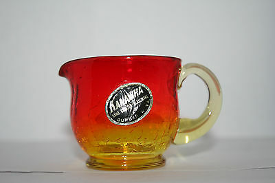 Vintage Amberina Crackle Glass Pitcher Creamer w Original Kanawha Label