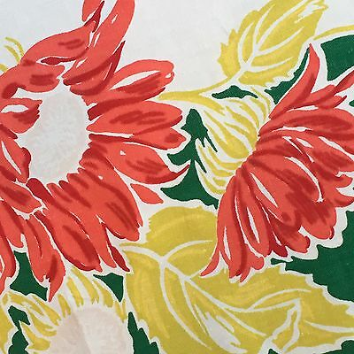 Vintage SIMTEX Tablecloth~Large RED FLOWERS~Bright cheery~ 46 X 53