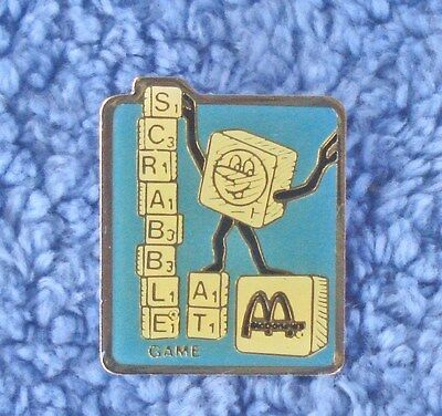 "Vintage Mcdonald's 1"" Enamel Pin Scrabble Game At Mcdonald's"