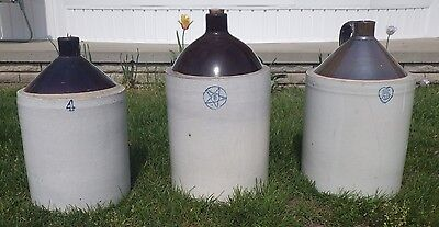 3 Antique Stoneware Jugs - Two tone