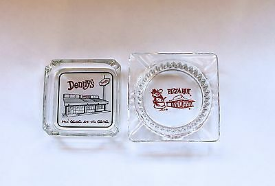 VINTAGE 1960's ADVERTISING PIZZA HUT and DENNY'S GLASS ASHTRAY LOT!