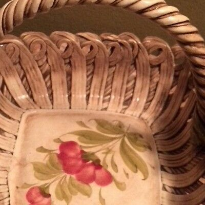 CAPODIMONTE CERAMIC HAND PAINTED brown BASKET flowers pink green leaves italian