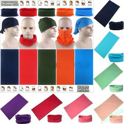 Unisex Solid Colors Tube Scarf Bandana Head Face Mask Neck Gaiter Snood Headwear