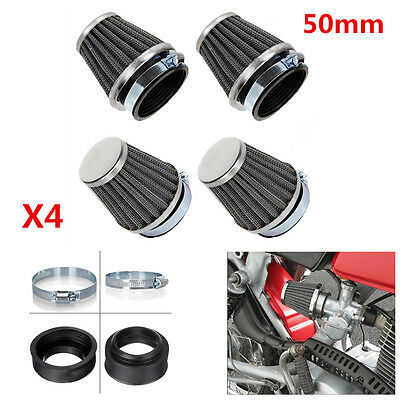 4x 50mm Inlet Cold Air Intake Tapered Air Filters Cleaner for Motorcycles Racer