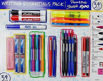 Writing Essentials Set Papermate Sharpie Expo Pens Pencils Highlighters 34 Count