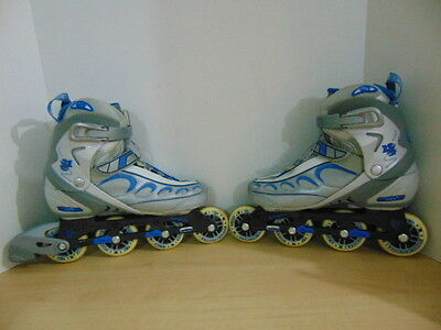 Inline Roller Skates Ladies Size 10.5 Fire Fly Blue Grey Fantastic Quality