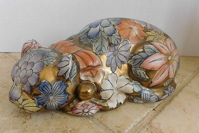 "Signed Floral Design Ceramic Sleeping Cat Figurine - Large 9 1/2"" Long"