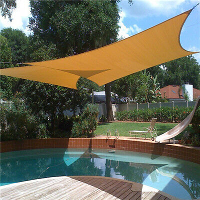"Shade Sail Waterproof Cloth Garden Cover UV Canopy Carport 3.6x3.6m/142""X142"""