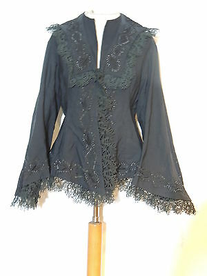 Victorian Black Silk Jacket w Bell Sleeves / Lace / Beading MED