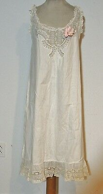 Frilly Victorian White Cotton Chemise or Nightgown w Lace / Ruffle Pink Bow SM