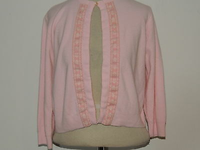 1950's Mary Brown Pink Cardigan Sweater w Trim SM