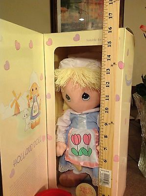 "RARE 14"" LG. PRECIOUS MOMENTS DOLL~ HOLLAND ~ Dolls Of the World -Vintage W/COA"