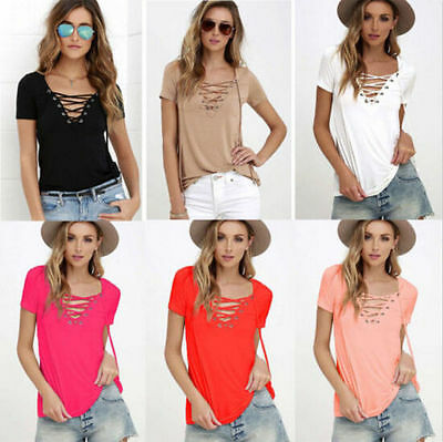 Cotton T Shirt Womens Short Sleeve Loose Tops Fashion Pullover Blouse Shirt