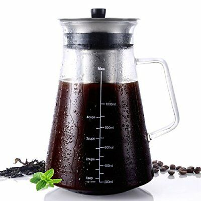 Beaker 1L Cold Brew Iced Coffee Maker Mesh Removable Filter Borosilicate Carafe