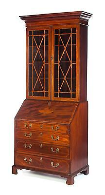 CHIPPENDALE INLAID SLANT FRONT SECRETARY BOOKCASE. Lot 253