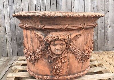 Massive planter Huge Circular Parisian Vase Planter Frost Proof terracotta color