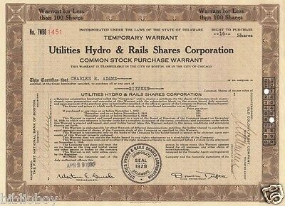 Vintage Engraved Stock Certificate 1930 Gas & Electric Hydro & Rails Shares Corp