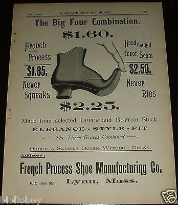 Original 1890 Full Page Illustrated Ad for French Process Shoe Manufacturing Co.