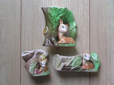 3 Eastgate Fauna Pottery Tree Trunk Items With A Deer/fawn: 2 Vases + 1 Jug: Vgc