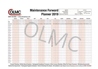 2017 & 2018 HGV PSV Vehicle Maintenance Wall Forward Planner - FREE DELIVERY