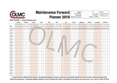 2019 HGV PSV Vehicle Maintenance Wall Forward Planner - FREE DELIVERY