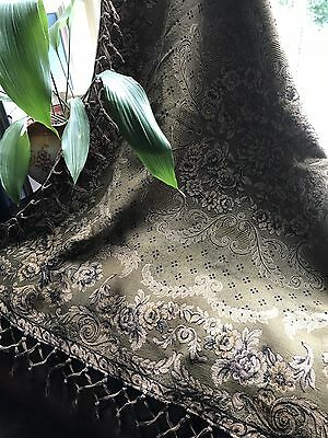 """Antique French Damask Tapestry Table Cover c1900 Shabby Chic Faded 49"""""""
