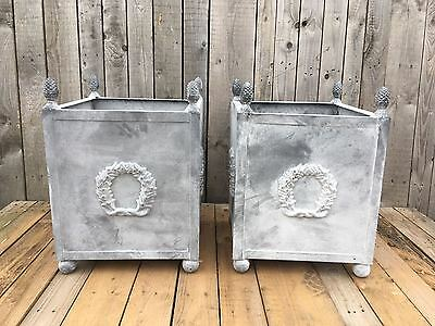Pair Square Small Laurel Garden Planter in Grey Made in Cast Iron and steel