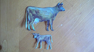C Antique DeLaval Cream Separator Advertising Tin Cow & Calf Brown & White