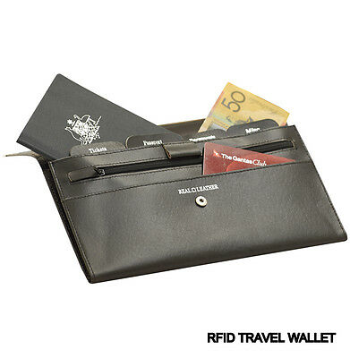 Genuine Leather RFID Travel Wallet/Document Holder- Brand New + FREE LUGGAGE TAG