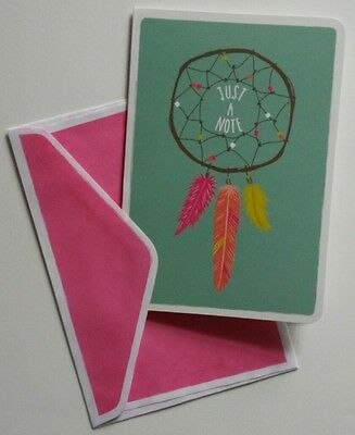 Set of 8 Blank Note Greeting Cards ~ Just A Note Dreamcatcher Feathers Teal