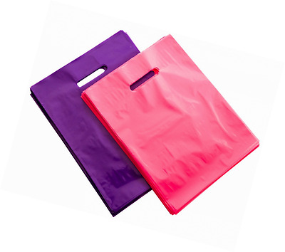 """200 9"""" X 12"""" Pink and Purple Merchandise Bags, Recyclable Glossy Shopping Bags,"""