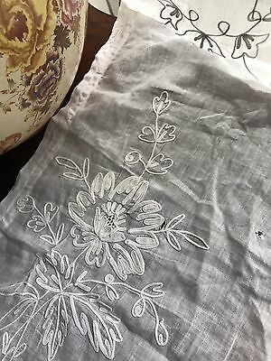 "Beautiful Antique French Chateau Cornelli Tambour Lace Curtain Project 22""/60"""