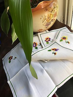 5 Vintage Teatime shabby chic Pansy French Finest Cotton Linen c1950s Napkins
