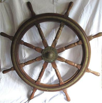 "John Hastie Greenock Brass & Wood 42"" 8 Spoke Great Lakes Schooner Ships Wheel"
