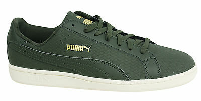 Puma Smash Woven Lace Up Synthetic Leather Olive Green Trainers 361196 03 P1
