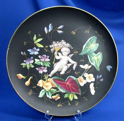 Hand-Painted Old Paris Wall Plaque / Charger Cherub & Detailed Flowers