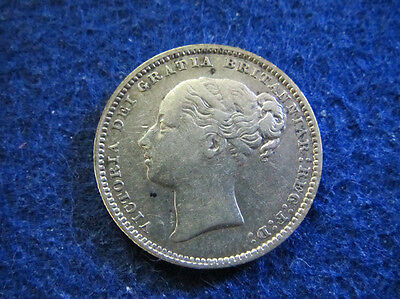 1880 Great Britain Silver Shilling  - Nice Circulated F+/VF - Free U S Shipping