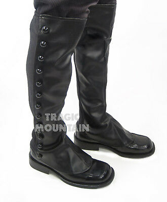 Steampunk Boot Spats Shoe Covers Victorian Faux Leather Costume Accessory Black