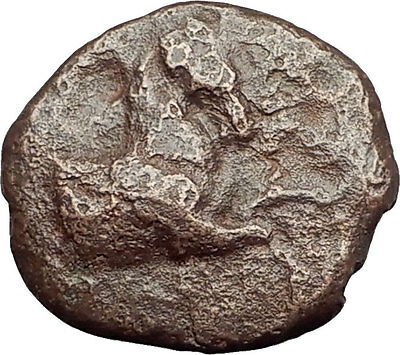 KYME in AEOLIS - Genuine 350BC Authentic Ancient Greek Coin  HORSE & VASE i62525