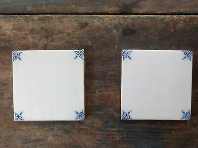 Pair of Antique Vintage Delft Tiles