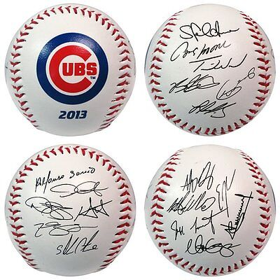Chicago Cubs 2013 Team Roster Rawlings Baseball in a Clam-shell Display case